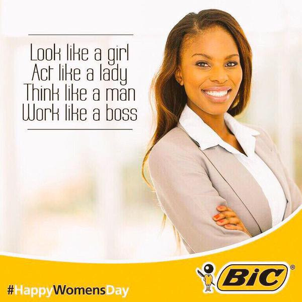 Bic Africa Look like a girl think like a man HappyWomensDay ad