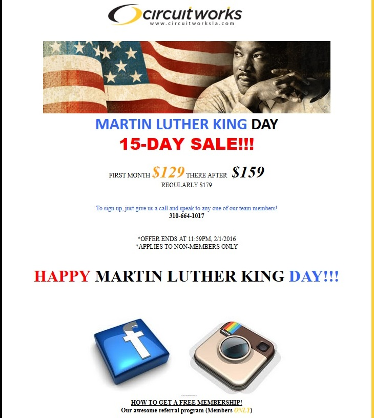 MLK ad for memorial day email error