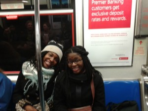 Two of my sisters that I spent most of the day with on our recent trip to Broadway.  Here they are on the PATH on our way into NYC